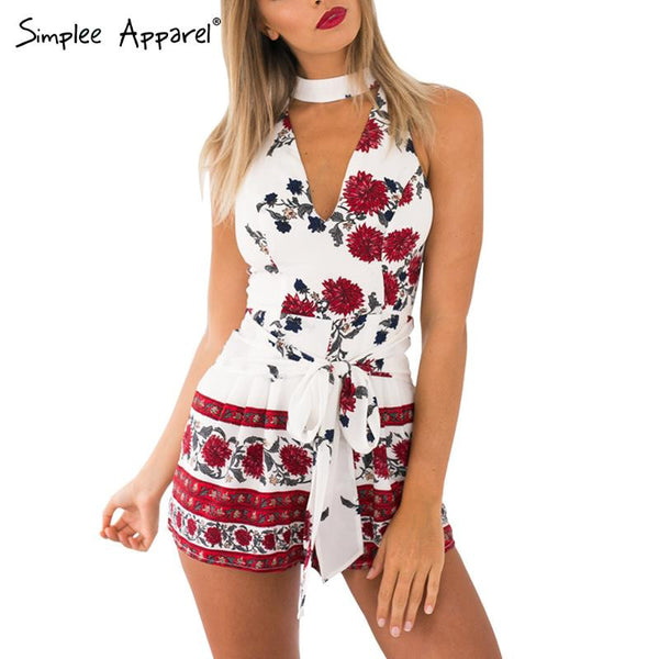 buy simplee apparel boho red floral print elegant jumpsuit romper summer style halter short. Black Bedroom Furniture Sets. Home Design Ideas