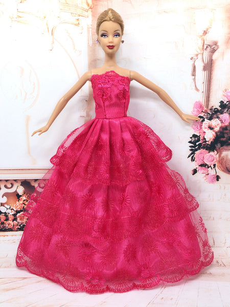 NK One Pcs Princess Doll Wedding Dress Noble Party Gown For Barbie Doll Fashion Design Outfit Best Gift For Girl' Doll 032A - Hespirides Gifts