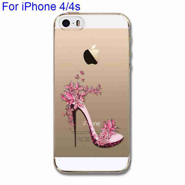 Phone Case Cover for iPhone 4 4s 5 5s 5c 6 6s 6Plus 6s Plus Ultra Soft Silicon Transparent Pink High heel Cute Cat Heart Shaped - Hespirides Gifts - 10