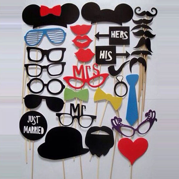 Photo Booth Props 31 Pcs/Set Photobooth For Wedding Birthday Party Photo Booth Props Glasses Mustache Lip On A Stick - Hespirides Gifts