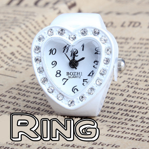 Hot Fashion New Heart Type Women Watches Manmade Stone Diamond Jewellery Finger Ring Watch - Hespirides Gifts