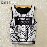 KaiTingu Brand New Fashion Women Sleeveless Sky Print Crop Top Cropped Tops Casual Sport Top Fitness Women Vest Tank Tops - Hespirides Gifts - 2