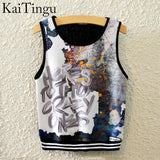 KaiTingu Brand New Fashion Women Sleeveless Sky Print Crop Top Cropped Tops Casual Sport Top Fitness Women Vest Tank Tops - Hespirides Gifts - 17