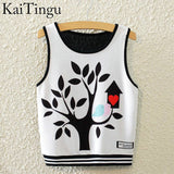 KaiTingu Brand New Fashion Women Sleeveless Sky Print Crop Top Cropped Tops Casual Sport Top Fitness Women Vest Tank Tops - Hespirides Gifts - 4