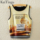 KaiTingu Brand New Fashion Women Sleeveless Sky Print Crop Top Cropped Tops Casual Sport Top Fitness Women Vest Tank Tops - Hespirides Gifts - 19