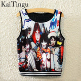 KaiTingu Brand New Fashion Women Sleeveless Sky Print Crop Top Cropped Tops Casual Sport Top Fitness Women Vest Tank Tops - Hespirides Gifts - 12