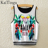 KaiTingu Brand New Fashion Women Sleeveless Sky Print Crop Top Cropped Tops Casual Sport Top Fitness Women Vest Tank Tops - Hespirides Gifts - 7