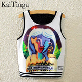 KaiTingu Brand New Fashion Women Sleeveless Sky Print Crop Top Cropped Tops Casual Sport Top Fitness Women Vest Tank Tops - Hespirides Gifts - 5