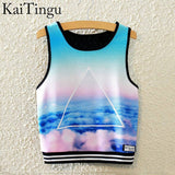 KaiTingu Brand New Fashion Women Sleeveless Sky Print Crop Top Cropped Tops Casual Sport Top Fitness Women Vest Tank Tops - Hespirides Gifts - 6