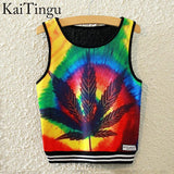 KaiTingu Brand New Fashion Women Sleeveless Sky Print Crop Top Cropped Tops Casual Sport Top Fitness Women Vest Tank Tops - Hespirides Gifts - 22
