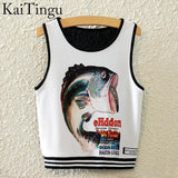 KaiTingu Brand New Fashion Women Sleeveless Sky Print Crop Top Cropped Tops Casual Sport Top Fitness Women Vest Tank Tops - Hespirides Gifts - 21