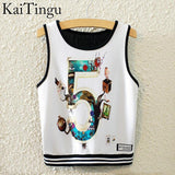 KaiTingu Brand New Fashion Women Sleeveless Sky Print Crop Top Cropped Tops Casual Sport Top Fitness Women Vest Tank Tops - Hespirides Gifts - 11