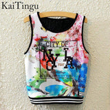 KaiTingu Brand New Fashion Women Sleeveless Sky Print Crop Top Cropped Tops Casual Sport Top Fitness Women Vest Tank Tops - Hespirides Gifts - 16