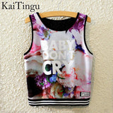KaiTingu Brand New Fashion Women Sleeveless Sky Print Crop Top Cropped Tops Casual Sport Top Fitness Women Vest Tank Tops - Hespirides Gifts - 18