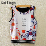 KaiTingu Brand New Fashion Women Sleeveless Sky Print Crop Top Cropped Tops Casual Sport Top Fitness Women Vest Tank Tops - Hespirides Gifts - 13