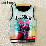 KaiTingu Brand New Fashion Women Sleeveless Sky Print Crop Top Cropped Tops Casual Sport Top Fitness Women Vest Tank Tops - Hespirides Gifts - 10