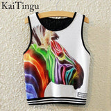 KaiTingu Brand New Fashion Women Sleeveless Sky Print Crop Top Cropped Tops Casual Sport Top Fitness Women Vest Tank Tops - Hespirides Gifts - 20