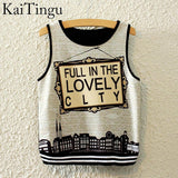 KaiTingu Brand New Fashion Women Sleeveless Sky Print Crop Top Cropped Tops Casual Sport Top Fitness Women Vest Tank Tops - Hespirides Gifts - 8