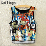 KaiTingu Brand New Fashion Women Sleeveless Sky Print Crop Top Cropped Tops Casual Sport Top Fitness Women Vest Tank Tops - Hespirides Gifts - 3