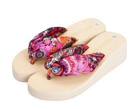 Summer bohemia flower Women flip flops platform wedges women sandals platform flip slippers beach shoes - Hespirides Gifts - 6