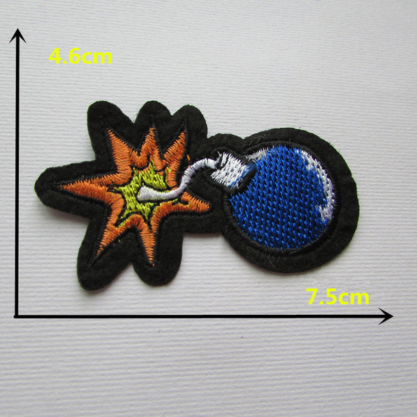 Cartoon characters blue bomb t hot melt adhesive dress applique embroidery patch DIY clothes shoes accessories patch 1 PCS C334 - Hespirides Gifts