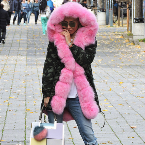 OFTBUY 2017 Fur Coat With Free Winter Scarf