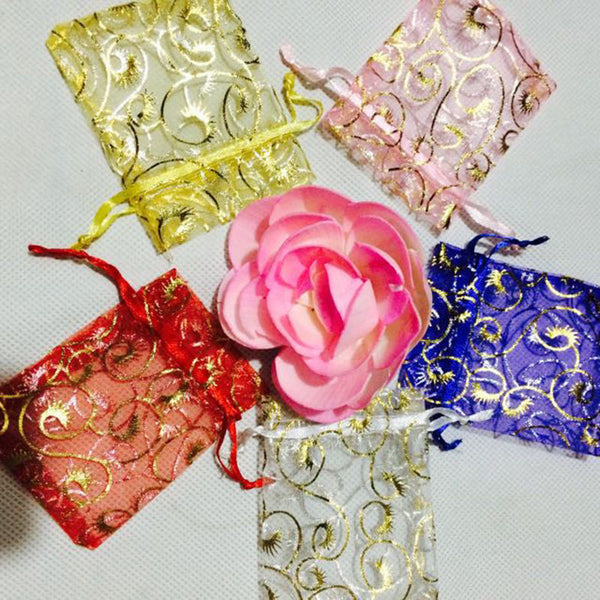 Hot Sale Organza Sachet Eyelash Decor Wedding Party Candy Jewelry Gift Pouch Bag