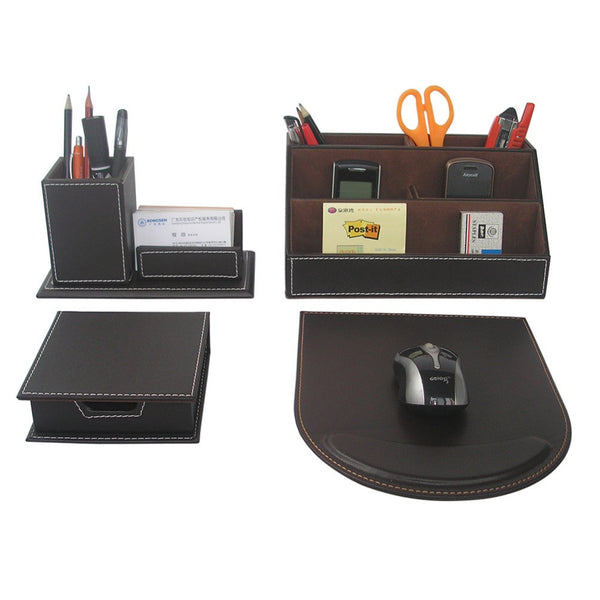 Ever Perfect 4PCS/Set Leather Office Desk Stationery Accessories Organizer Pen Holder Box Mouse Pad Name Card Stand T41 - Hespirides Gifts