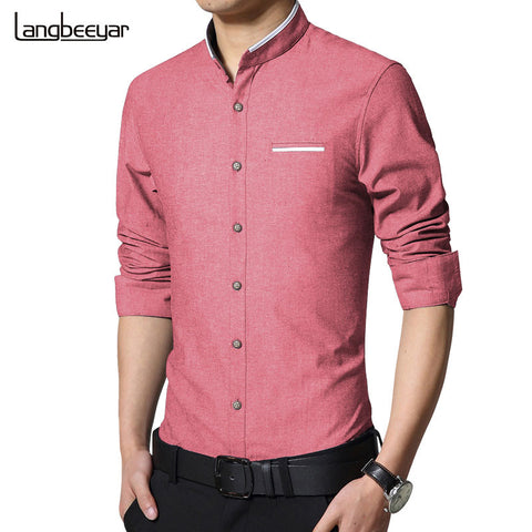 New Fashion Casual Men Shirt Long Sleeve Stand Color Slim Fit Shirt Men Korean business Mens Dress Shirts Men Clothes 5XL - Hespirides Gifts - 1