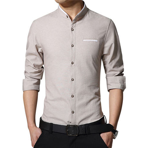 Buy New Fashion Casual Men Shirt Long Sleeve Stand Color
