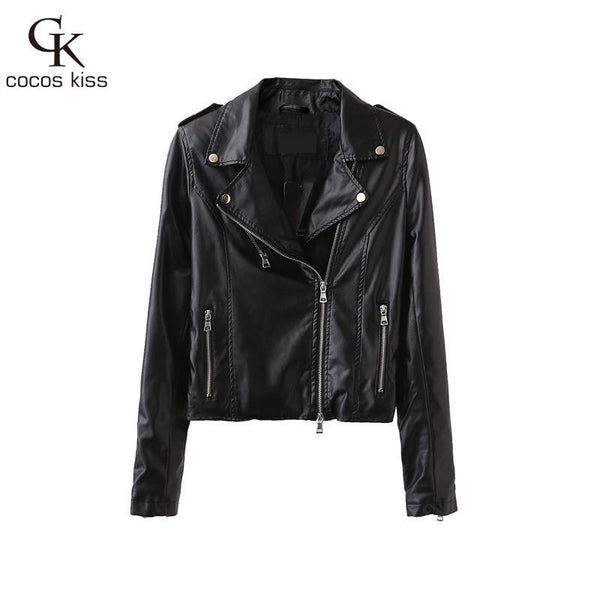 new leather female jacket lapel long sleeved jacket PU slim leather female temperament locomotive Red leather women - Hespirides Gifts - 3