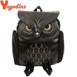 Yogodlns Fashion Women Backpack Newest Stylish Cool Black PU Leather Owl Backpack Female Hot Sale Women shoulder bag school bags