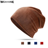 Wearzone Fashion Unisex Velvet Women Winter Hat Men Skullies Beanies Warm Winter Cap Men Beanie Hat Hip Hop Cap Male Bonnet