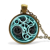 new UK hot dr doctor who blue line box time lord Necklace 1pcs/lot bronze / silver Glass Steampunk Pendant jewelry iron man mens - Hespirides Gifts - 2