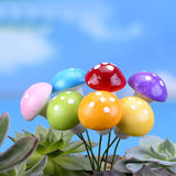 Wholesale 6Pcs/Lot Small mushrooms DIY Resin Fairy Garden Craft Decoration Miniature Micro Gnome Terrarium Gift F0178