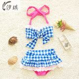 xiqi children swimwear girls bikini swimwearkids beachwear child girl bikini checks print children's swimwear for girls swimwear