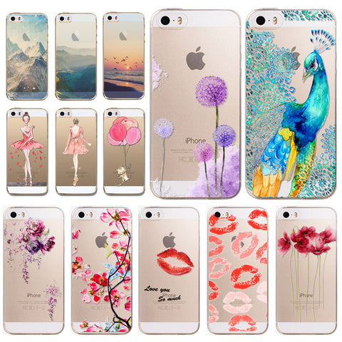 Phone Cases Cover for Apple iPhone 5 5S 5G SE Super Thin Soft TPU Clear Back Case Skin for iPhone 5S Phone Accessory Wholesale - Hespirides Gifts - 1