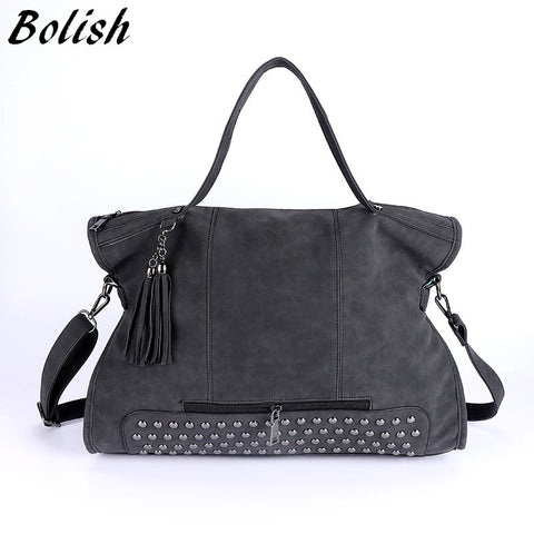 BOLISH Leather Women's Shoulder Bag With Tassels Rivets and Free Coin Purse