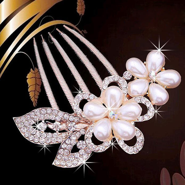 bride hairpin Peacock pearl flowers Wedding crystal rhinestone pearl flower hairpin diamante clip hair comb pin comb 2MOB - Hespirides Gifts - 5