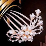 bride hairpin Peacock pearl flowers Wedding crystal rhinestone pearl flower hairpin diamante clip hair comb pin comb 2MOB - Hespirides Gifts - 10