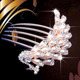 bride hairpin Peacock pearl flowers Wedding crystal rhinestone pearl flower hairpin diamante clip hair comb pin comb 2MOB - Hespirides Gifts - 4