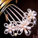 bride hairpin Peacock pearl flowers Wedding crystal rhinestone pearl flower hairpin diamante clip hair comb pin comb 2MOB - Hespirides Gifts - 8