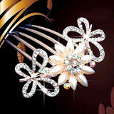 bride hairpin Peacock pearl flowers Wedding crystal rhinestone pearl flower hairpin diamante clip hair comb pin comb 2MOB - Hespirides Gifts - 2