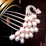 bride hairpin Peacock pearl flowers Wedding crystal rhinestone pearl flower hairpin diamante clip hair comb pin comb 2MOB - Hespirides Gifts - 9