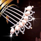 bride hairpin Peacock pearl flowers Wedding crystal rhinestone pearl flower hairpin diamante clip hair comb pin comb 2MOB - Hespirides Gifts - 6