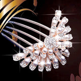 bride hairpin Peacock pearl flowers Wedding crystal rhinestone pearl flower hairpin diamante clip hair comb pin comb 2MOB - Hespirides Gifts - 7