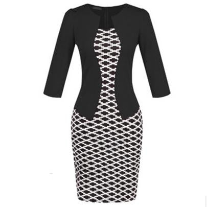Fashion Women Retro Vintage Faux Two Piece Dress Elegant Lady Plaid Long Sleeve Pencil Dress Office Wear Outfits Plus Size S122 - Hespirides Gifts - 8
