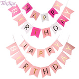 FENGRISE Glitter Happy Birthday Bunting Banner Gold Letters Hanging Garlands Pastel Pink String Flags Baby Shower Party Decor