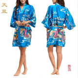 Silk Kimono Robes For Women Satin Bathrobe Long Silk Robes For Bridesmaids Longue Femme Women Dressing Gown Bridesmaid Robe - Hespirides Gifts - 3