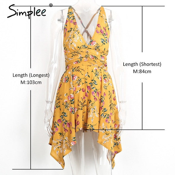 Simplee Deep V floral print coveralls Backless zipper women jumpsuit romper bodysuit 2017 summer beach overalls playsuit leotard